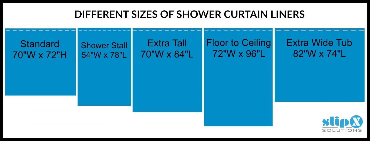 Different Sizes Of SlipX SolutionsR Shower Liners